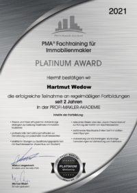 Hartmut_Wedow_4100_PMA®_Fachtraining_für_Immobilienmakler_-_Platinum_Award_-_2_Jahre_PMA